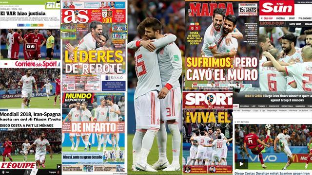 Las portadas recogen el agónico triunfo de España ante Irán: 'Sufrimiento, infarto, sin convencer'