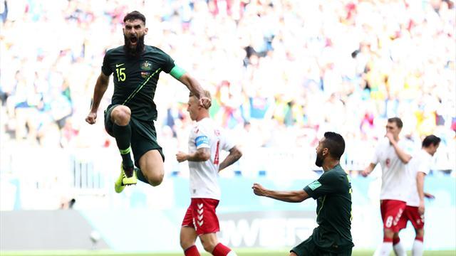 Volée di Eriksen e rigore trasformato da Jedinak: Danimarca-Australia finisce 1-1