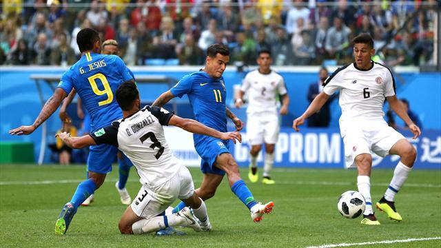 Coutinho-Neymar nel recupero: il Brasile soffre ma batte 2-0 (ed elimina) in extremis la Costa Rica