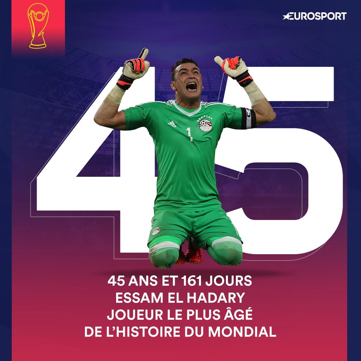 A 45 ans et 161 jours, l'Egyptien Essam El Hadary est devenu le joueur le plus âgé à disputer un match de Coupe du monde, le 25 juin 2018 contre l'Arabie saoudite.