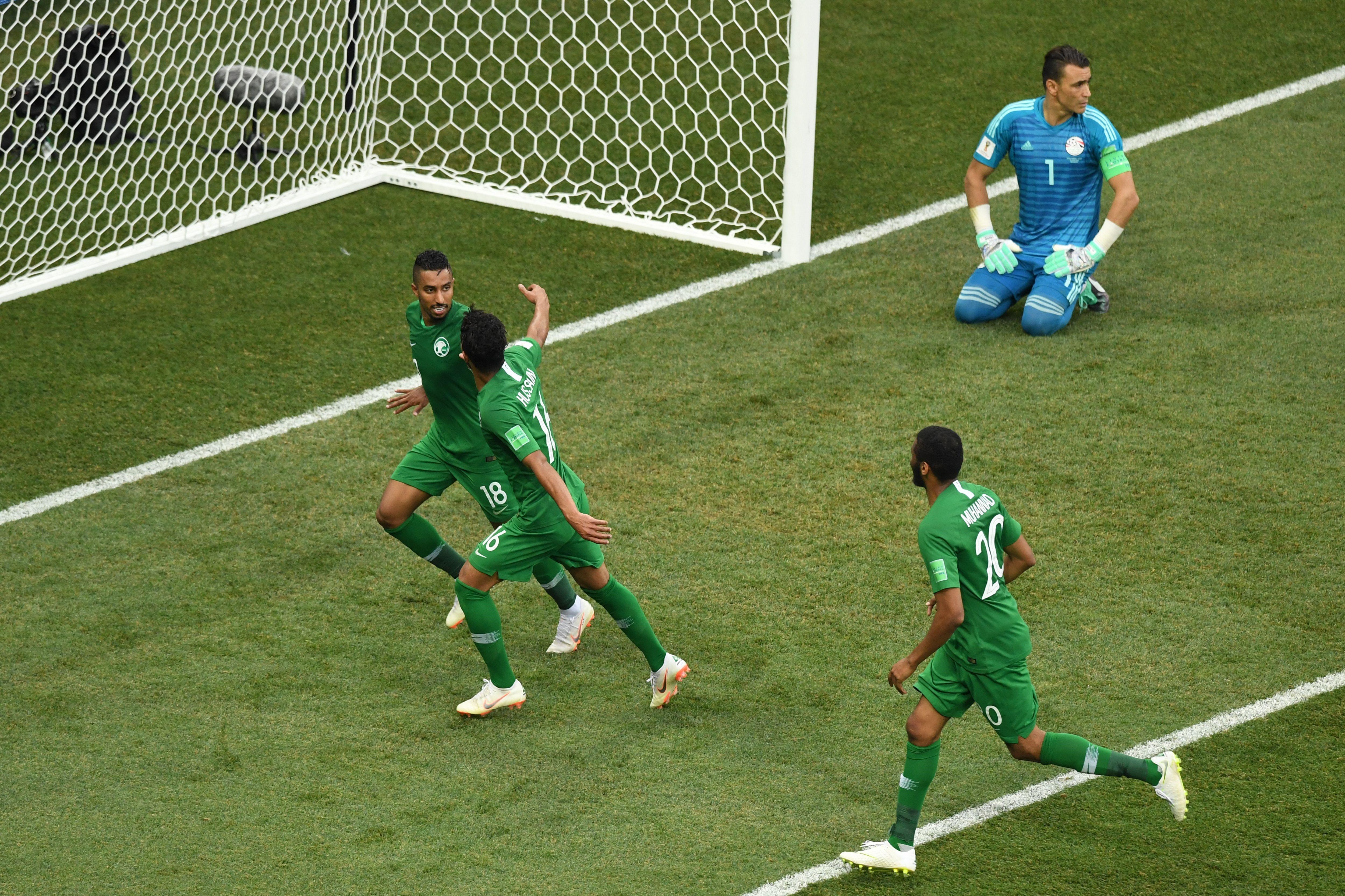 Salem Al-Dawsari buteur pour l'Arabie saoudite contre l'Egypte à la Coupe du monde 2018