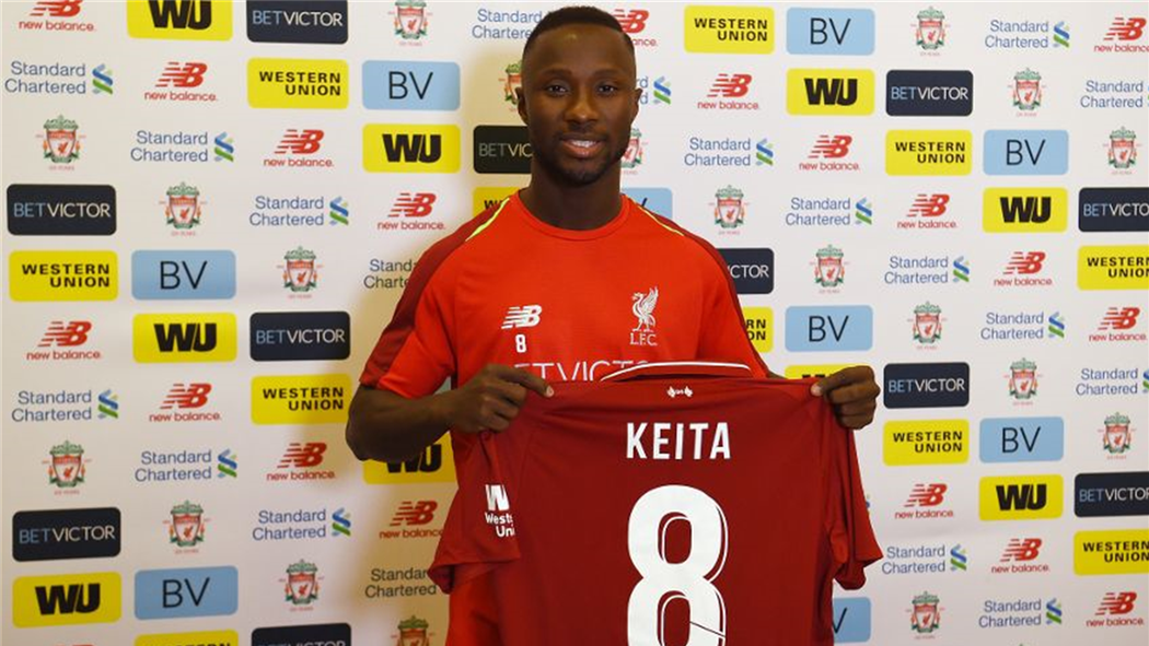 reputable site 6186d 56ffd Naby Keita takes No. 8 shirt as he's unveiled by Liverpool ...