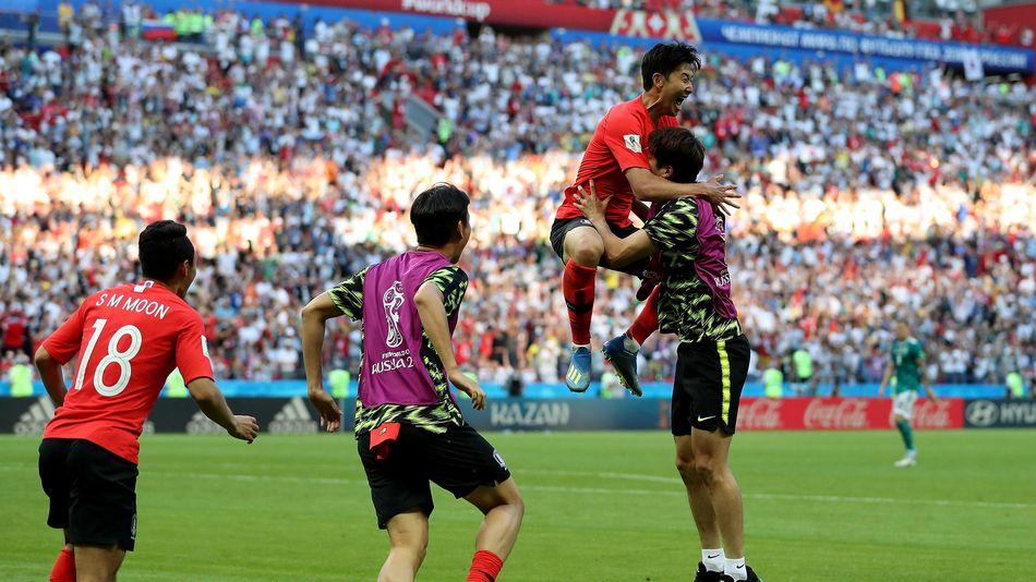 La joie de Son (Corée du Sud) buteur contre l'Allemagne