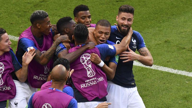 Kylian Mbappé avec l'équipe de France contre l'Argentine en 8es de finale de la Coupe du monde
