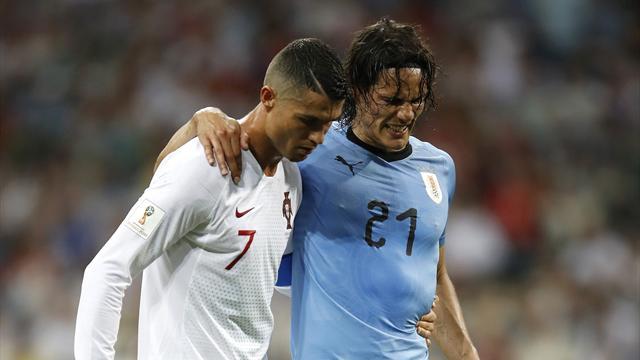 Quand Ronaldo aide Cavani, blessé, à quitter le terrain : la belle image d'Uruguay-Portugal