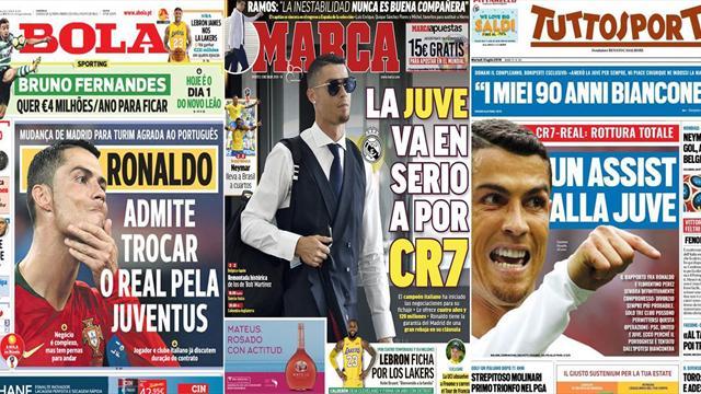 Edicola la Juventus offre 120 milioni a Ronaldo! Il Real smentisce l'offerta per Neymar