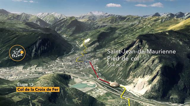 Tour-Berge, 12. Etappe: Der Col de la Croix de Fer (HC) im 3D-Profil
