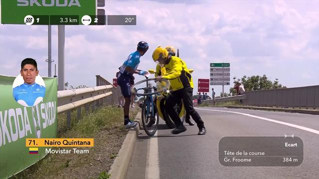 Tour de Francia 2018: El pinchazo que condenó a Nairo Quintana en la primera etapa