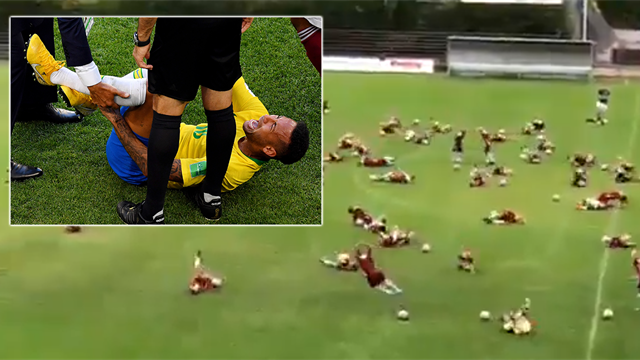 VIDEO: Schoolkids hilariously mock Neymar during training session