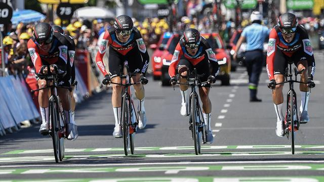 Van Avermaet in yellow after BMC edge Sky in Stage 3 team time trial