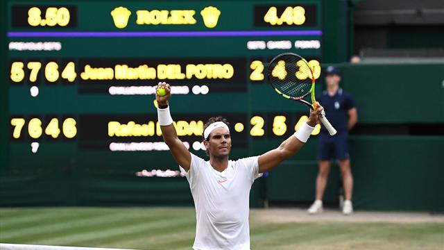 Nadal knokt en knokt en haalt eindelijk weer eens halve finale op Wimbledon