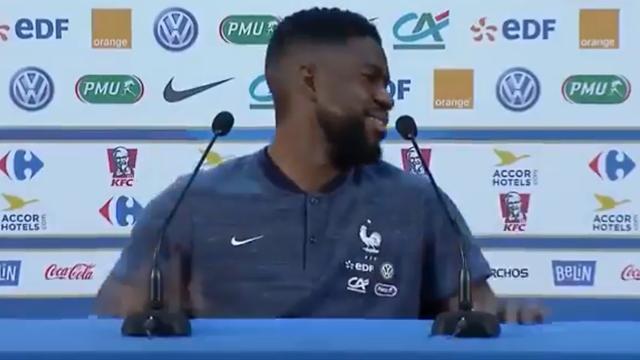 «Поль Умтити... Самуэль Погба». Игрок сборной Франции ушел с пресс-конференции после ошибки в имени