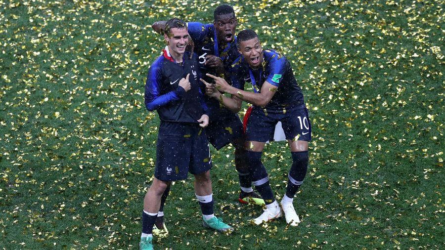 Antoine Griezmann, Paul Pogba et Kylian Mbappé