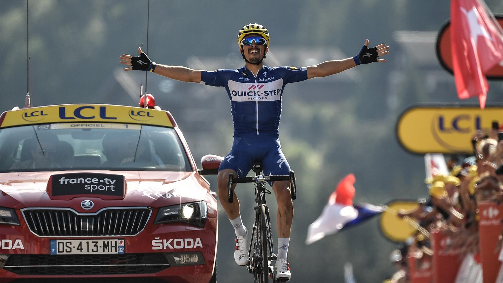 ca7cb6e48bc Tour de France 2018: Julian Alaphilippe in polka dots after soloing to Stage  10 glory