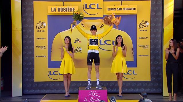 Strahlender Etappensieger: Thomas streift sich Maillot jaune über