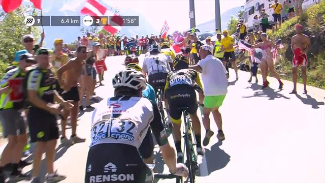 Fan lunges for Chris Froome on Alpe d'Huez