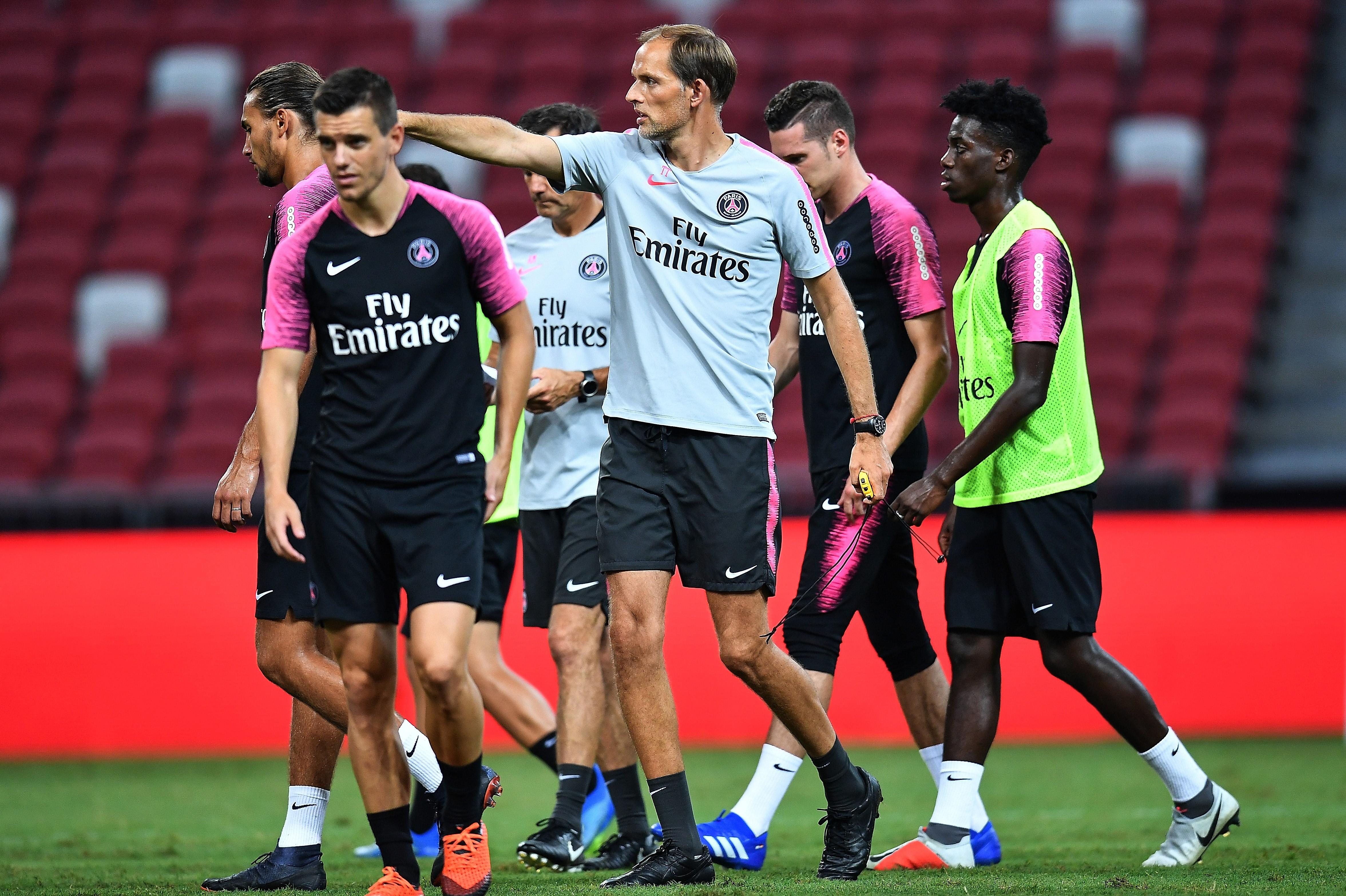 Thomas Tuchel avec ses joueurs (PSG) - Juillet 2018