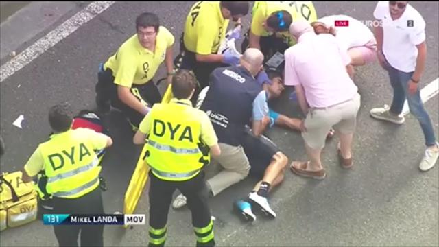 Mikel Landa sufre una fuerte caída en la Clásica de San Sebastián