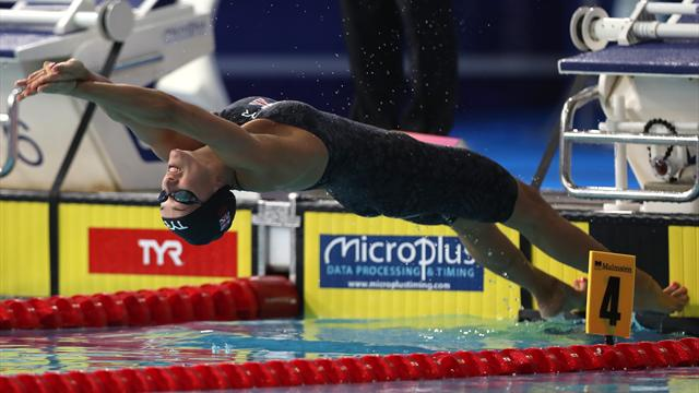 Davies wins third medal with 100m backstroke silver