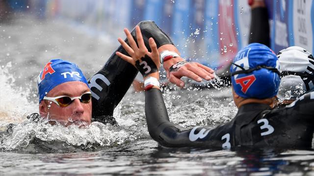 Les Bleu(e)s bronzé(e)s sur le relais mixte en eau libre
