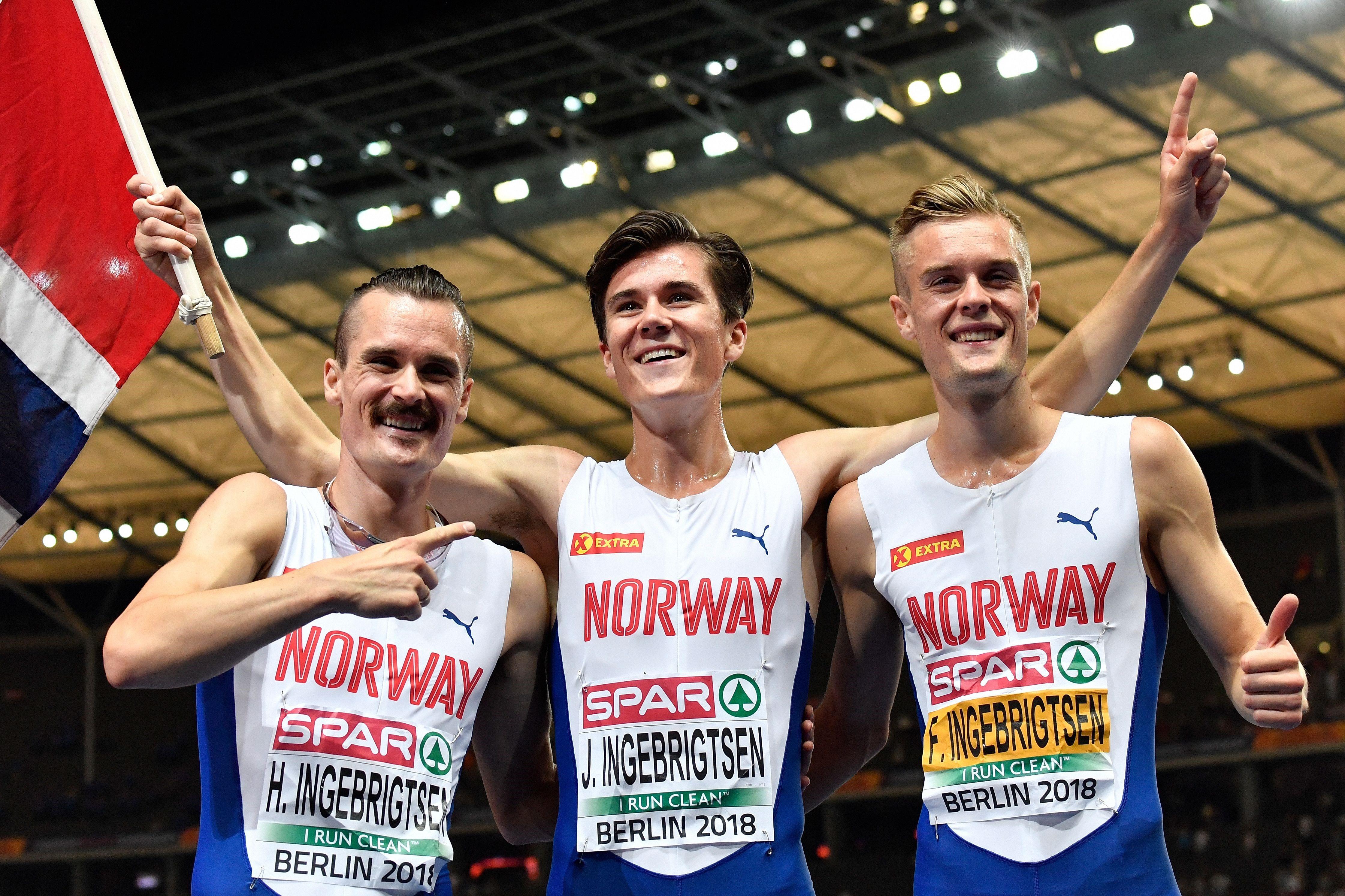 Jakob Ingebrigtsen (centre), with brothers Filip (right) and Henrik