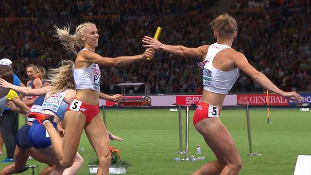 Poland win 4x400m women's relay as GB take bronze