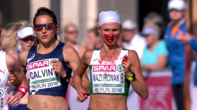 Scene horror durante la maratona: Volha Mazuronak corre perdendo sangue dal naso