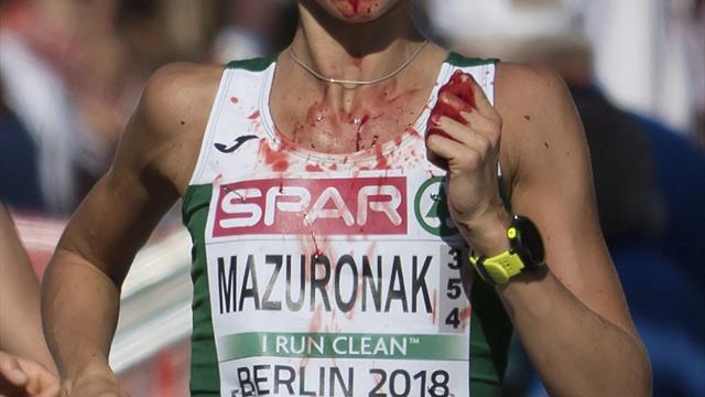 Mazuronak wins European marathon gold despite nosebleed