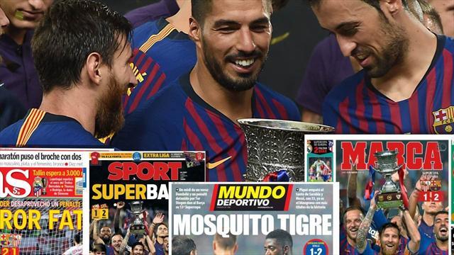 Así recogen las portadas el triunfo del Barcelona en la Supercopa de España ante el Sevilla