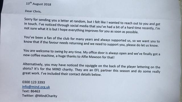 """La lettera del dirigente del Barnsley al tifoso depresso: """"Il mio ufficio è sempre aperto per te"""""""