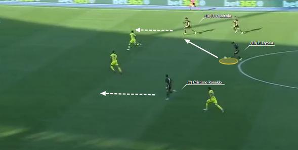 Cristiano Ronaldo ignorato in contropiede da Dybala
