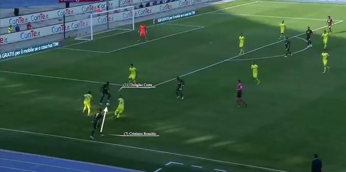 Cristiano Ronaldo si allarga a sinistra e serve Douglas Costa