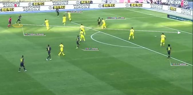 Cristiano Ronaldo forza il tiro con Douglas Costa in campo