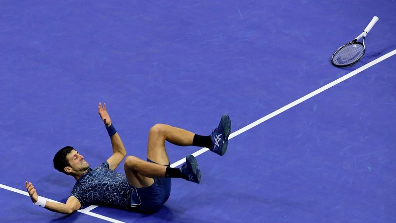 Novak Djokovic celebrates winning the US Open