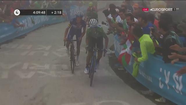 Valverde non si arrende mai scatta sull'ultima rampa e recupera 8 a Simon Yates