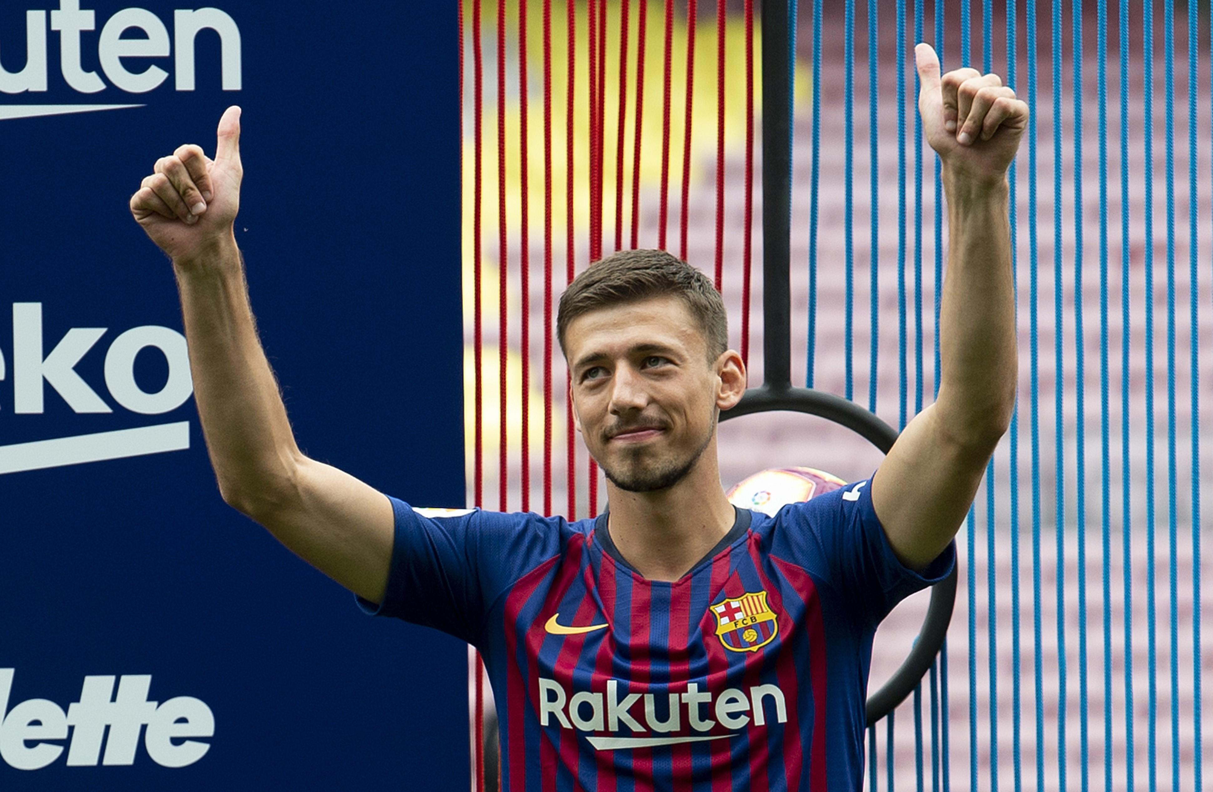 Clément Lenglet lors de sa présentation par le FC Barcelone le 13 juillet 2018
