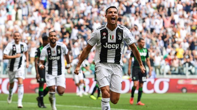 La Juventus si gode Ronaldo: prima doppietta e Sassuolo sconfitto, il Genoa vola con Piatek