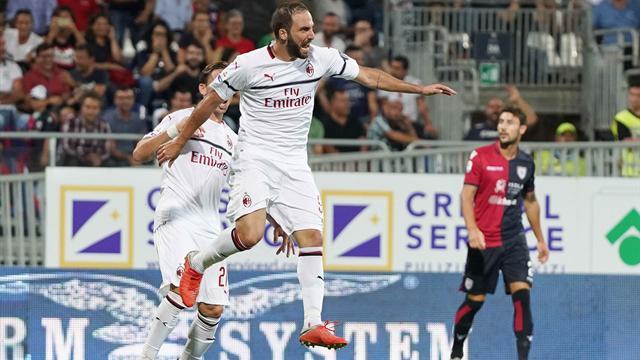 Higuan si sblocca, ma il Milan non espugna la Sardegna Arena: 1-1 a Cagliari
