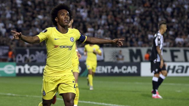 Höjdpunkter: Willian enda målskytt mot PAOK när Chelsea vann