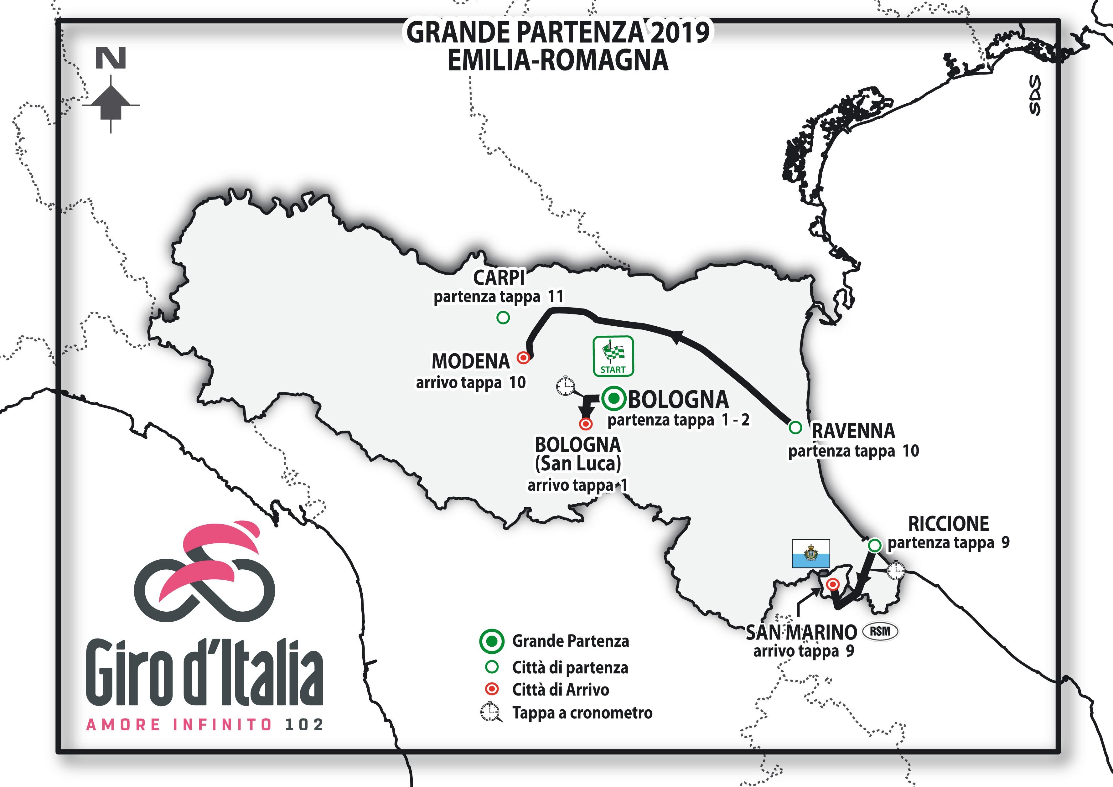 Il Giro d'Italia 2019 sceglie l'Emilia-Romagna