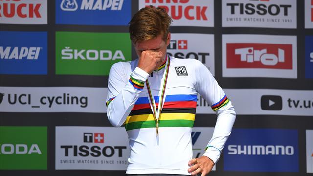 Mundiales 2018: La emoción de Remco Evenepoel al vestirse con el arcoíris