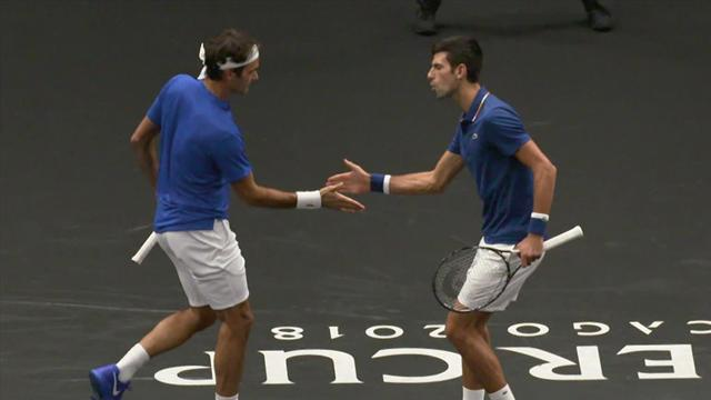 Djokovic and Federer play doubles for Europe - Laver Cup 2018 highlights