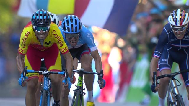 Watch Valverde outsprint Dumoulin, Bardet and Woods to become World Champion