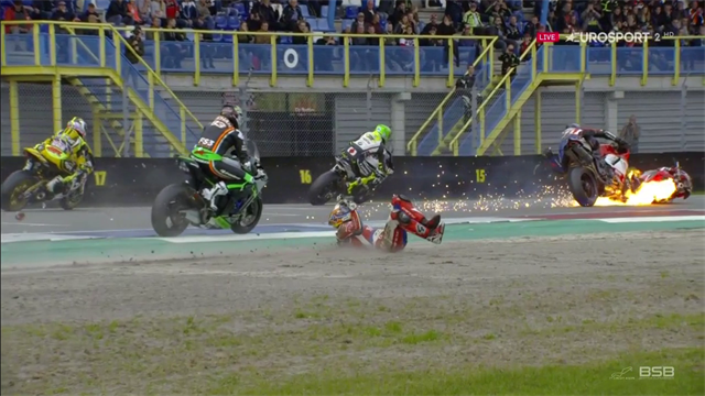 Spectacular fiery crash brings down Linfoot and Bridewell