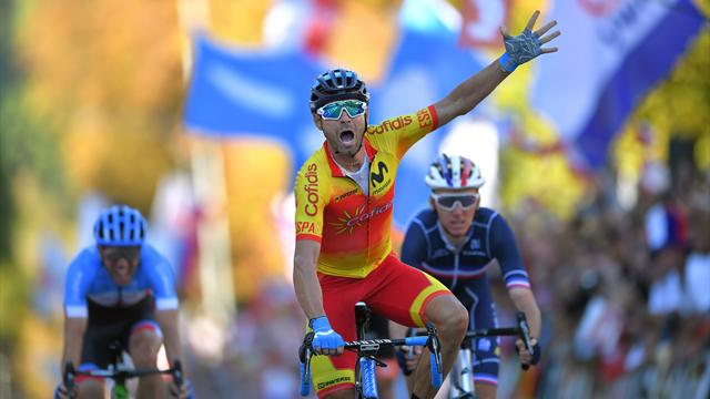 Alejandro Valverde campione del mondo a 38 anni: Moscon chiude 5°