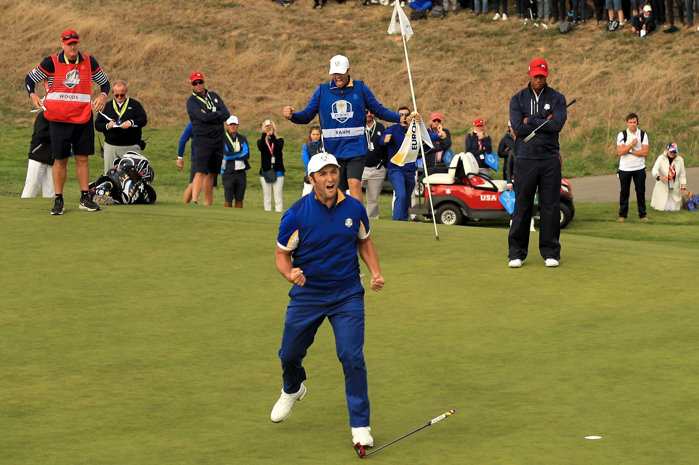 Jon Rahm of Europe celebrates winning his match on the 17th during singles matches of the 2018 Ryder Cup at Le Golf National on September 30, 2018 in Paris, France