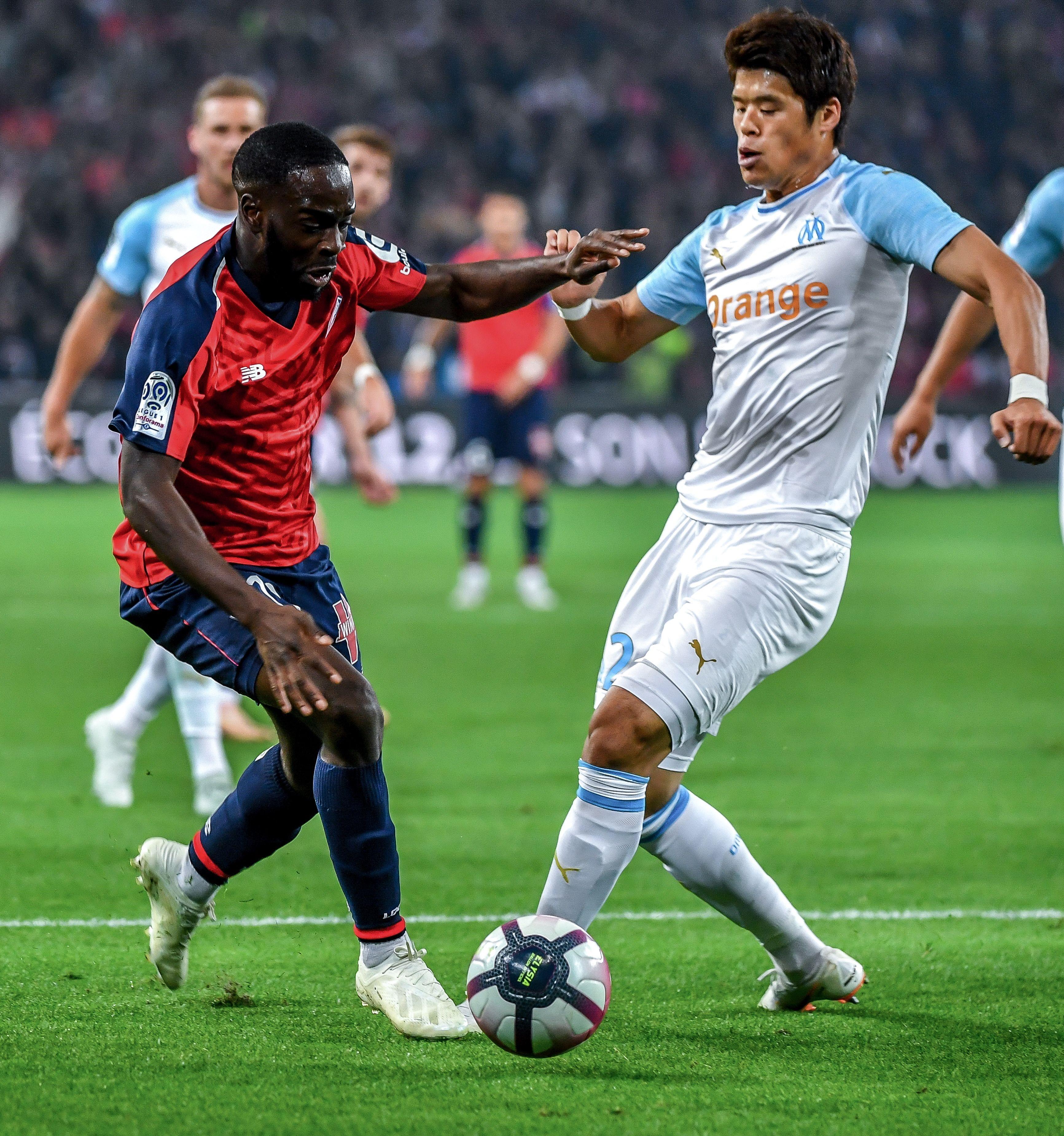 Jonathan Ikoné et Hiroki Sakai lors de Lille-OM / Ligue 1