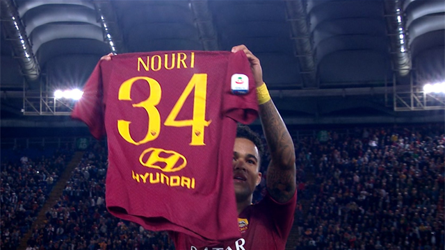 Kluivert dedicates first Roma goal to former team-mate Nouri