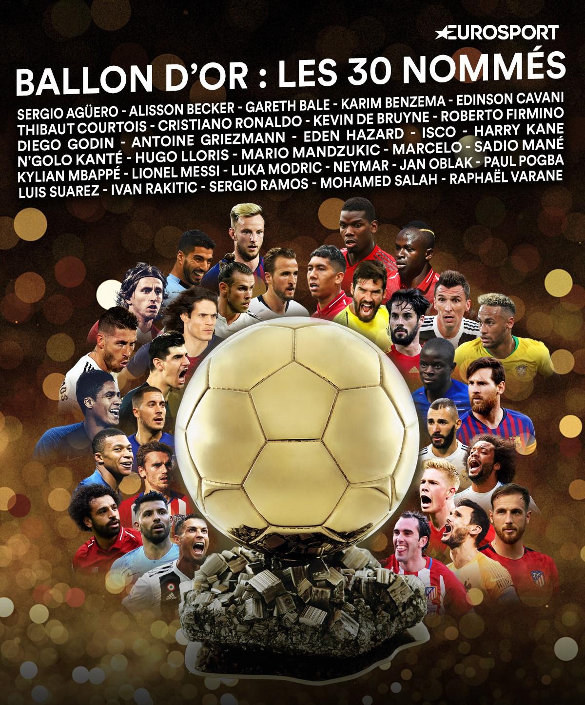 On connaît les 30 nommés pour le Ballon d'Or 2018.