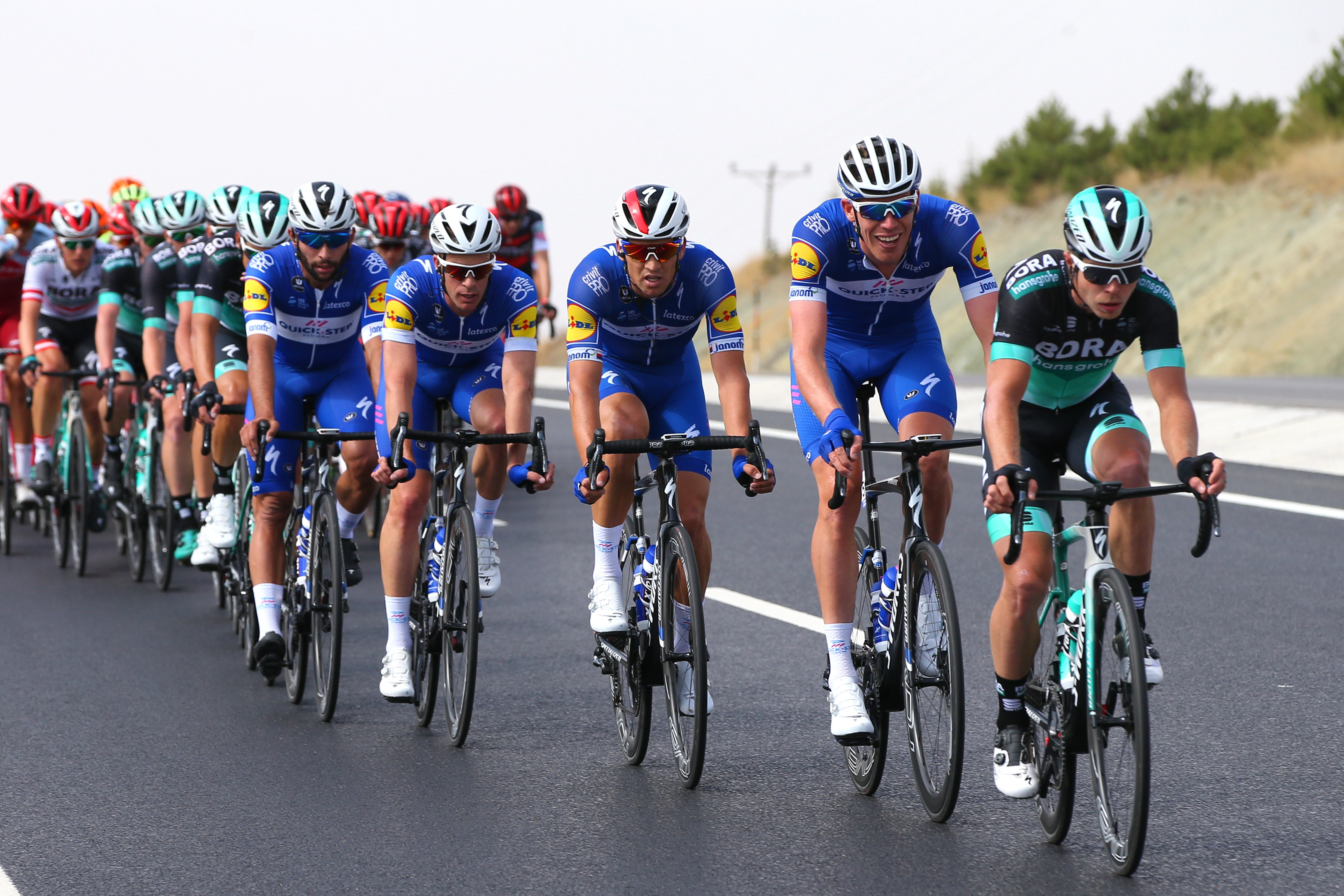 Juraj Sagan of Slovakia and Team Bora-Hansgrohe / Tim Declercq of Belgium and Team Quick Step Floors / Zdenek Stybar of Czech Republic and Team Quick Step Floors / Iljo Keisse of Belgium and Team Quick Step Floors / Fernando Gaviria of Colombia and Team Q
